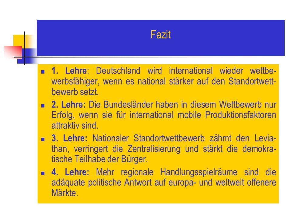 Fazit 1. Lehre: Deutschland wird international wieder wettbe-werbsfähiger, wenn es national stärker auf den Standortwett-bewerb setzt.