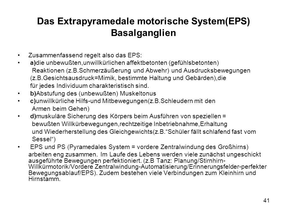Das Extrapyramedale motorische System(EPS) Basalganglien