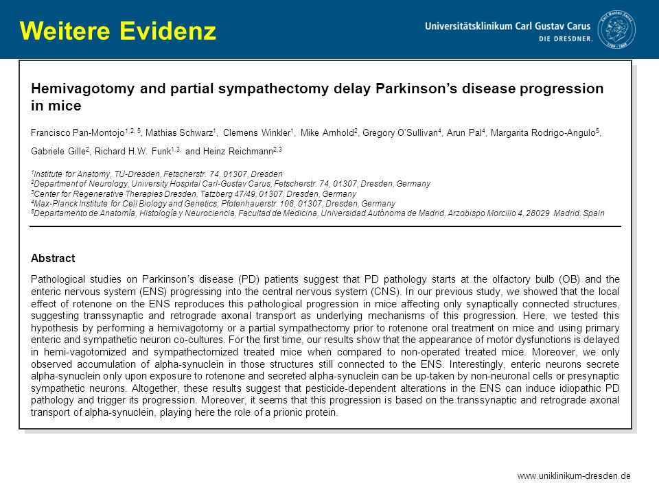 Weitere Evidenz Hemivagotomy and partial sympathectomy delay Parkinson's disease progression in mice.