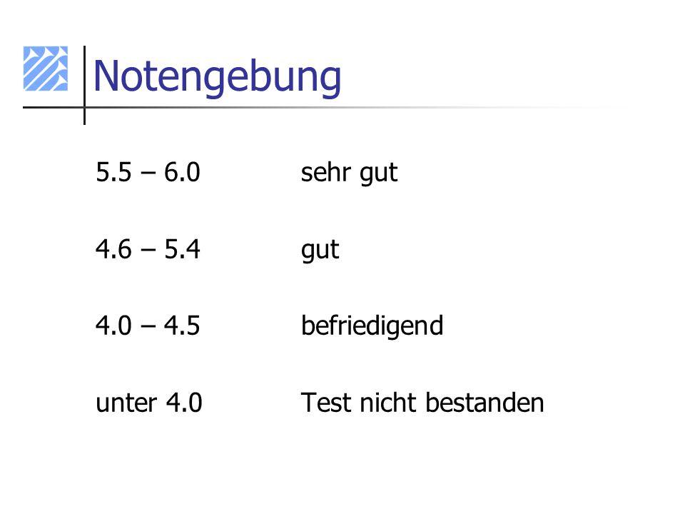Notengebung 5.5 – 6.0 sehr gut 4.6 – 5.4 gut 4.0 – 4.5 befriedigend