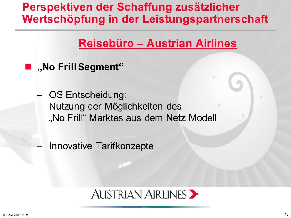 Perspektiven der Schaffung zusätzlicher Wertschöpfung in der Leistungspartnerschaft Reisebüro – Austrian Airlines