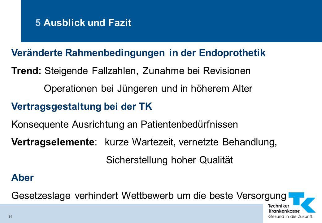 5 Ausblick und Fazit Veränderte Rahmenbedingungen in der Endoprothetik. Trend: Steigende Fallzahlen, Zunahme bei Revisionen.