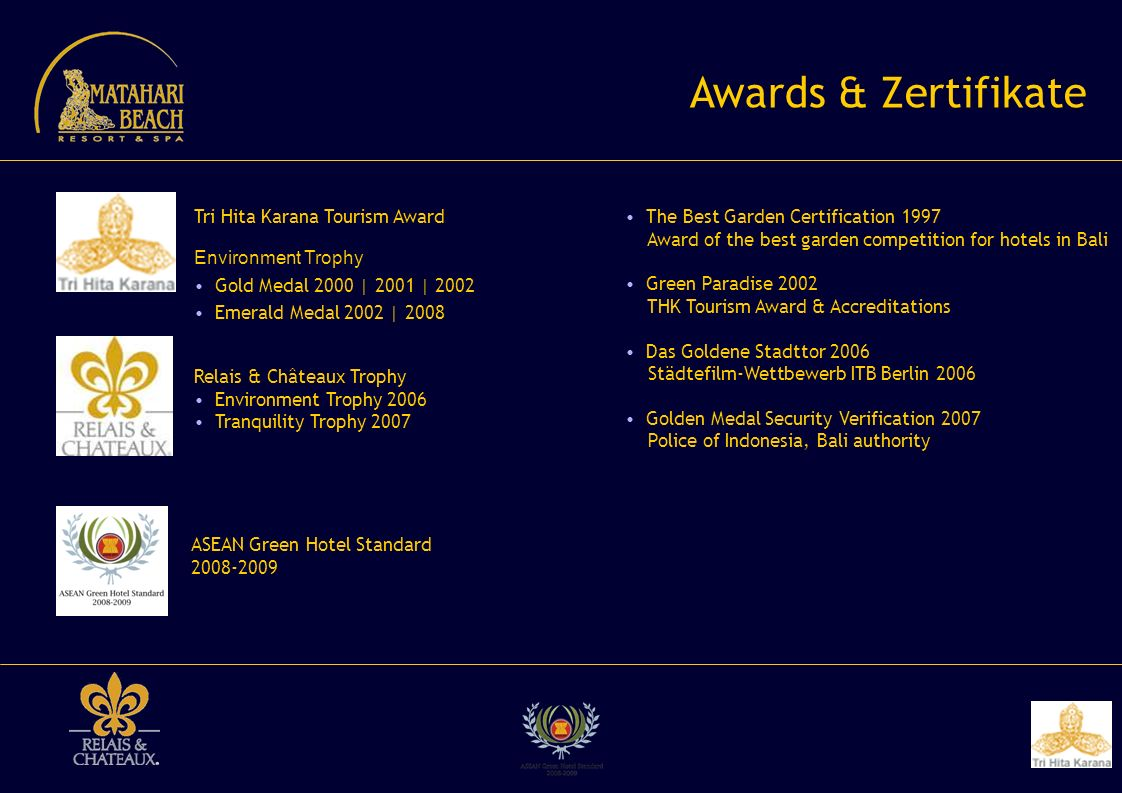 Awards & Zertifikate Tri Hita Karana Tourism Award Environment Trophy