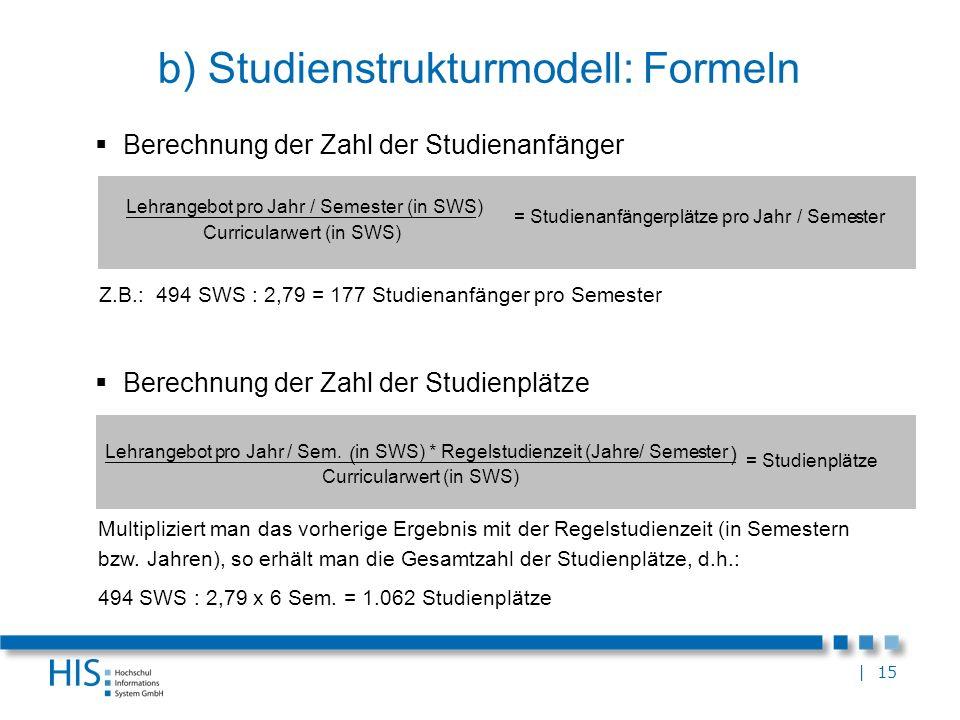 b) Studienstrukturmodell: Formeln