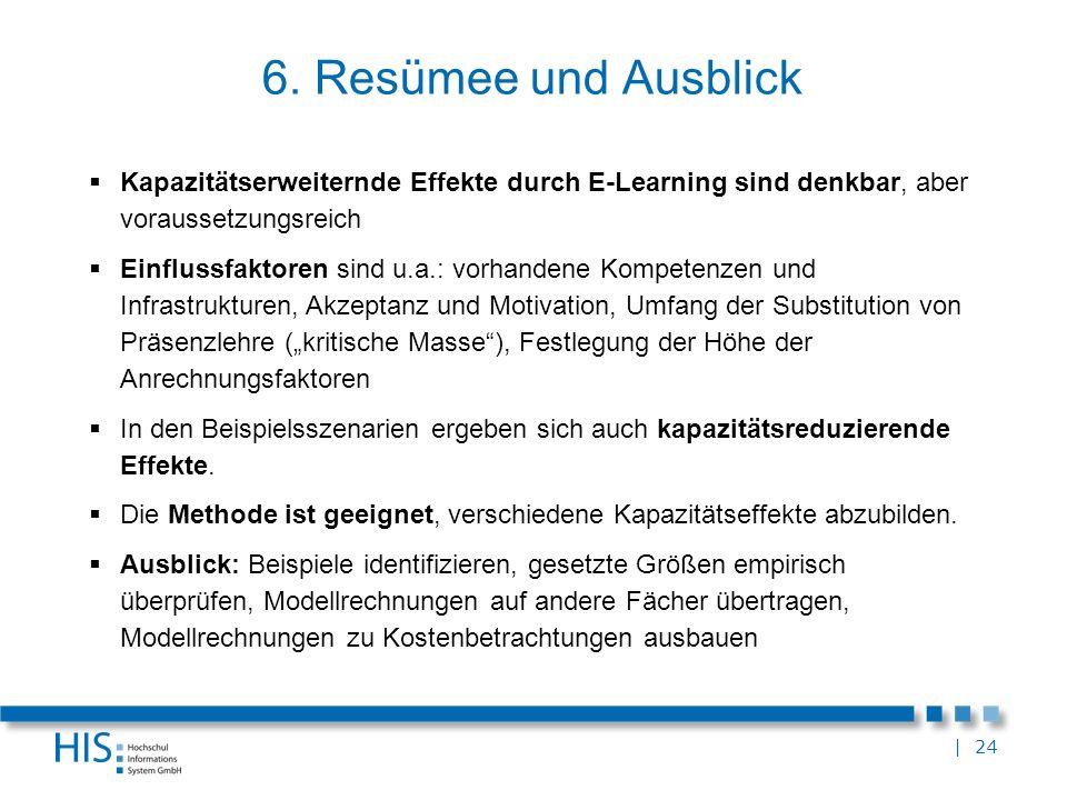 6. Resümee und Ausblick Kapazitätserweiternde Effekte durch E-Learning sind denkbar, aber voraussetzungsreich.