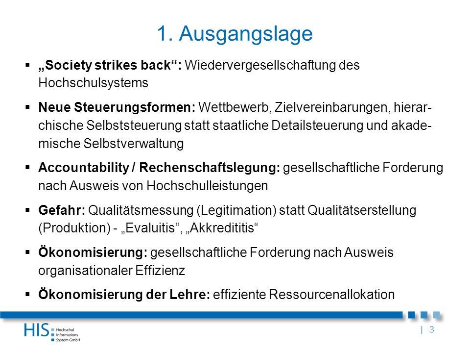 """1. Ausgangslage """"Society strikes back : Wiedervergesellschaftung des Hochschulsystems."""