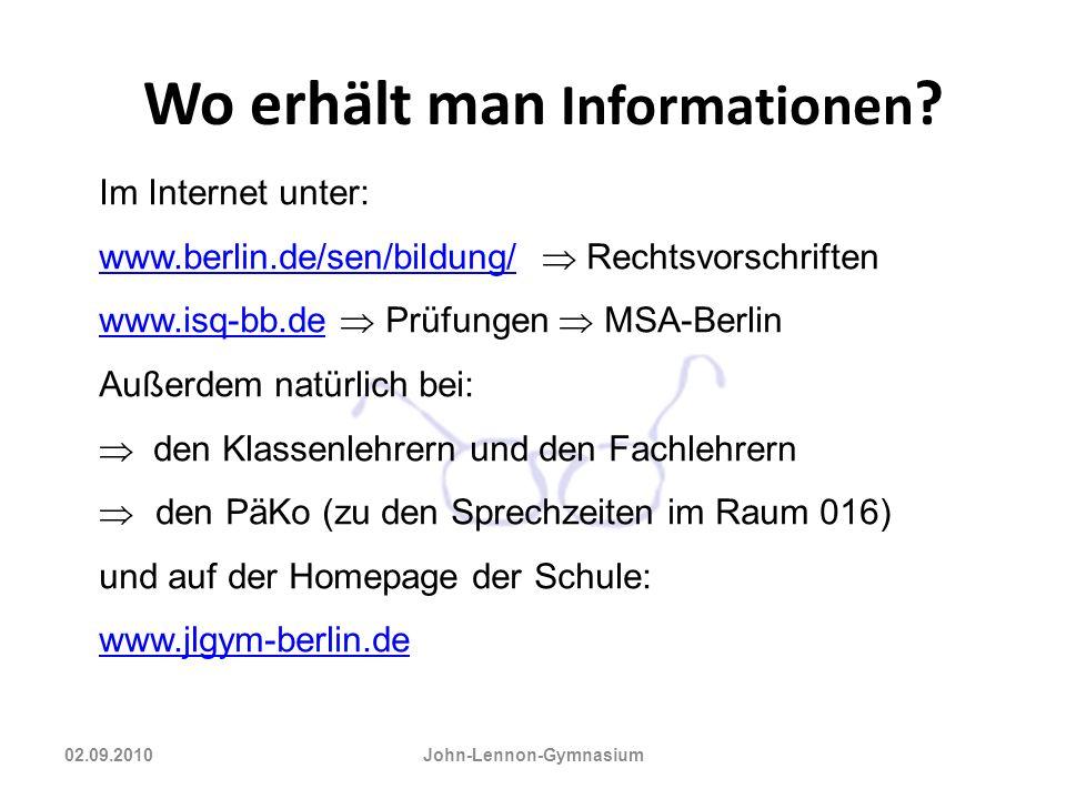 Wo erhält man Informationen