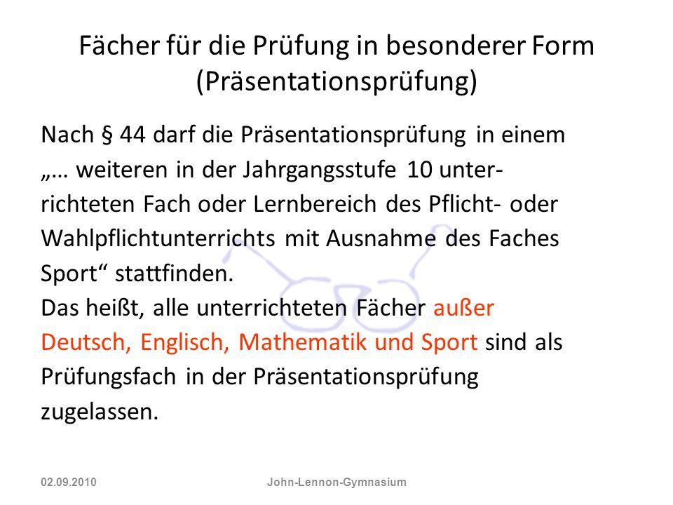 Fächer für die Prüfung in besonderer Form (Präsentationsprüfung)