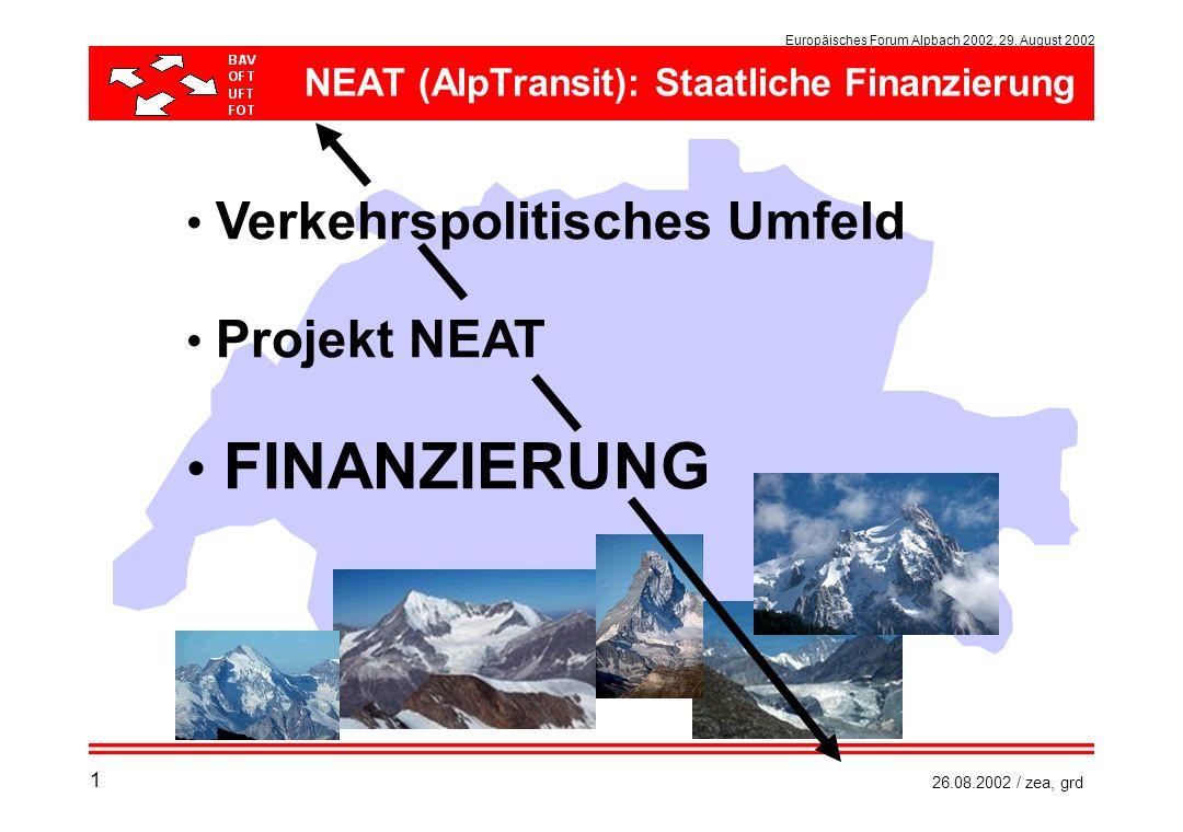 NEAT (AlpTransit): Staatliche Finanzierung