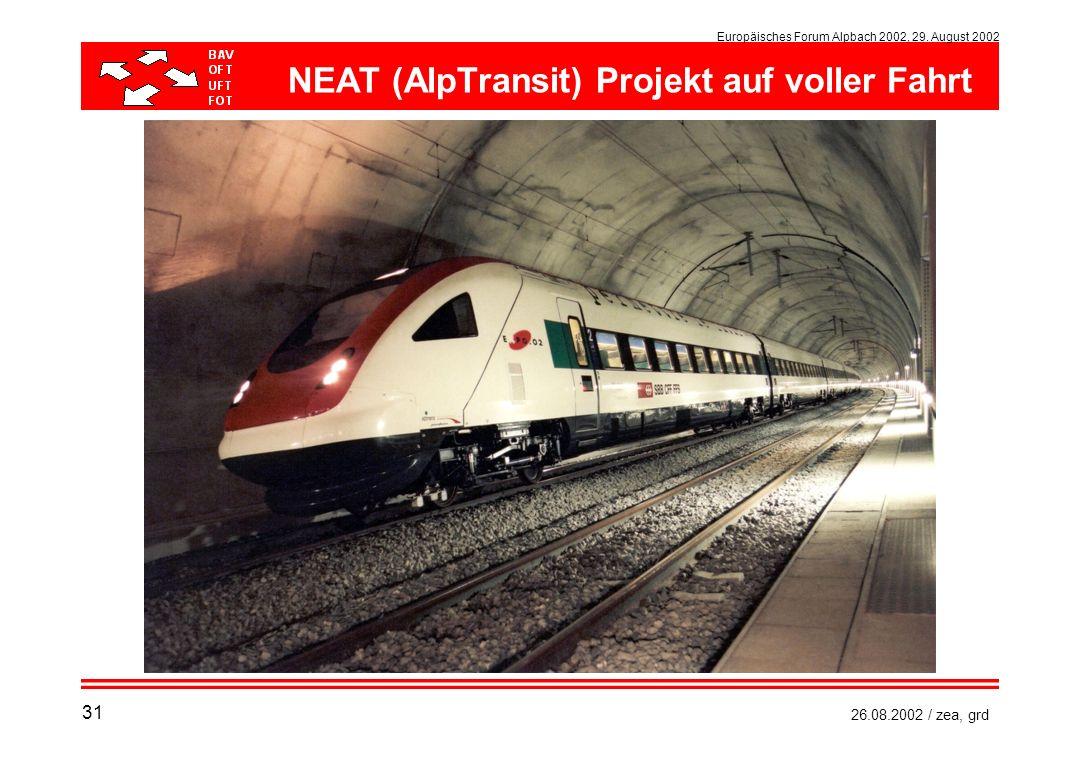 NEAT (AlpTransit) Projekt auf voller Fahrt