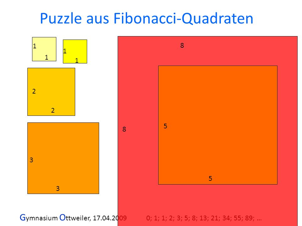 Puzzle aus Fibonacci-Quadraten