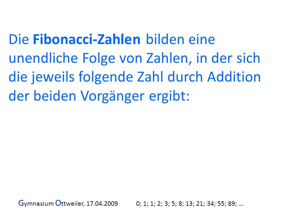 Die Fibonacci-Zahlen bilden eine unendliche Folge von Zahlen, in der sich die jeweils folgende Zahl durch Addition der beiden Vorgänger ergibt: