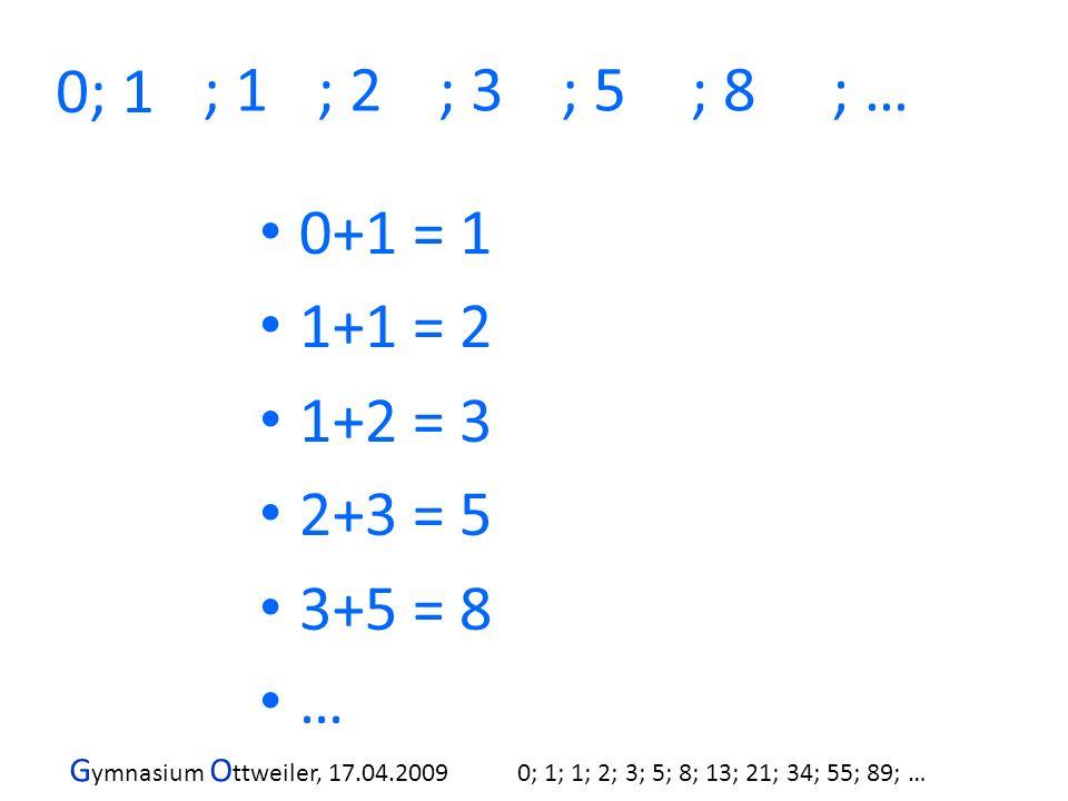 0; 1 ; 1 ; 2 ; 3 ; 5 ; 8 ; … 0+1 = 1 1+1 = 2 1+2 = 3 2+3 = 5 3+5 = 8 …