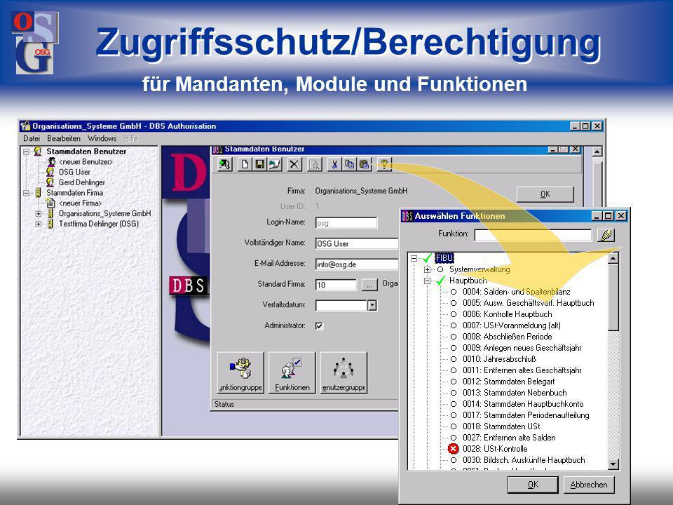 Zugriffsschutz/Berechtigung für Mandanten, Module und Funktionen