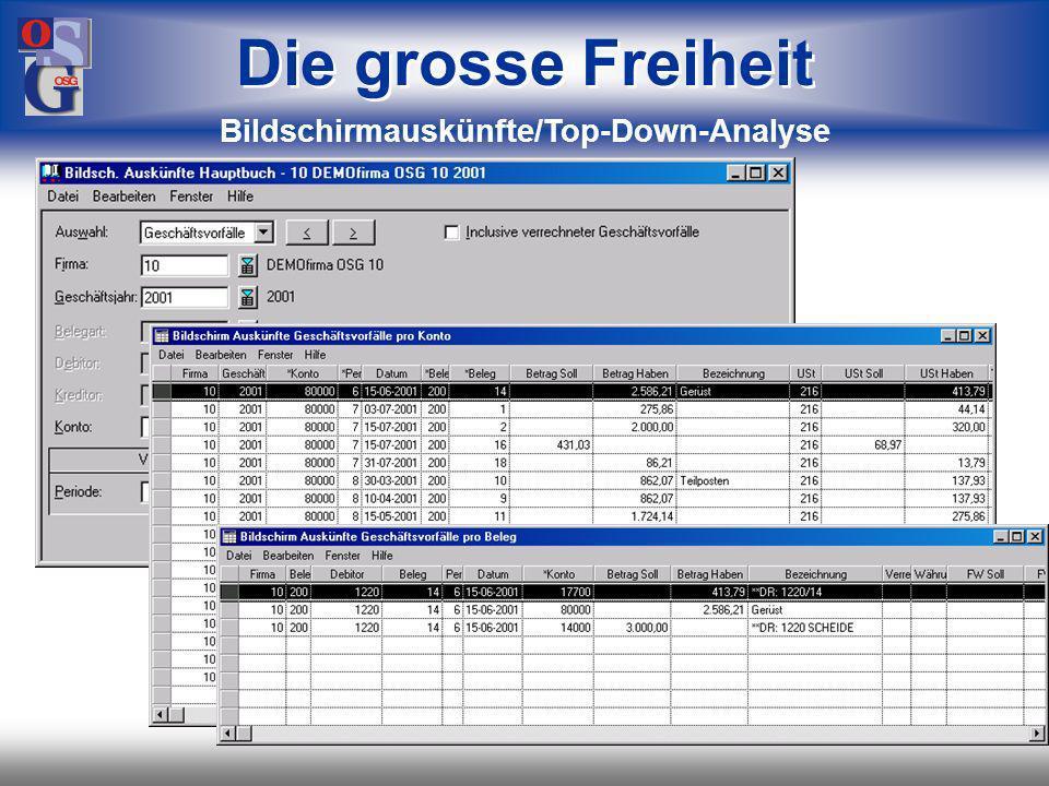 Bildschirmauskünfte/Top-Down-Analyse