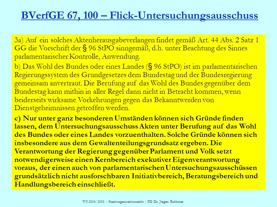 BVerfGE 67, 100 – Flick-Untersuchungsausschuss