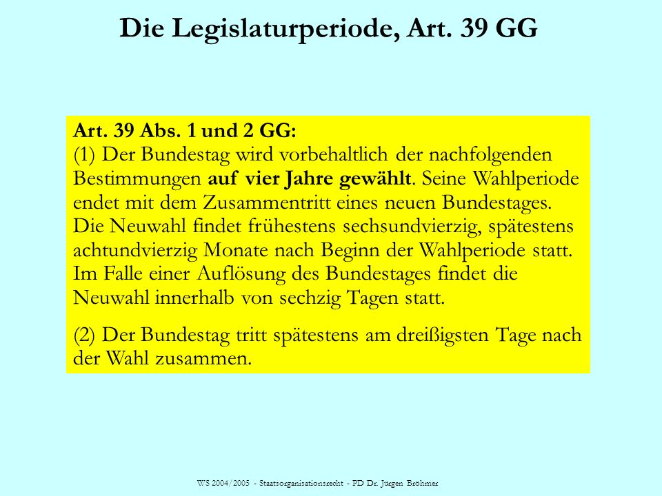 Die Legislaturperiode, Art. 39 GG