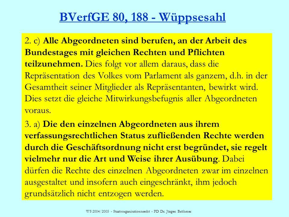 WS 2004/2005 - Staatsorganisationsrecht - PD Dr. Jürgen Bröhmer