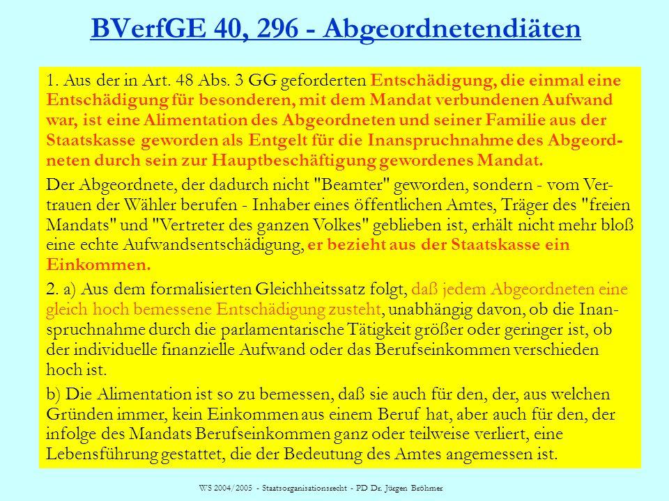 BVerfGE 40, 296 - Abgeordnetendiäten
