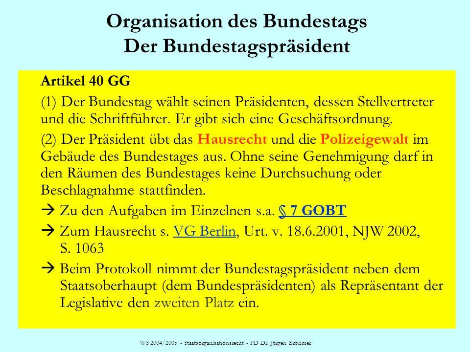 Organisation des Bundestags Der Bundestagspräsident