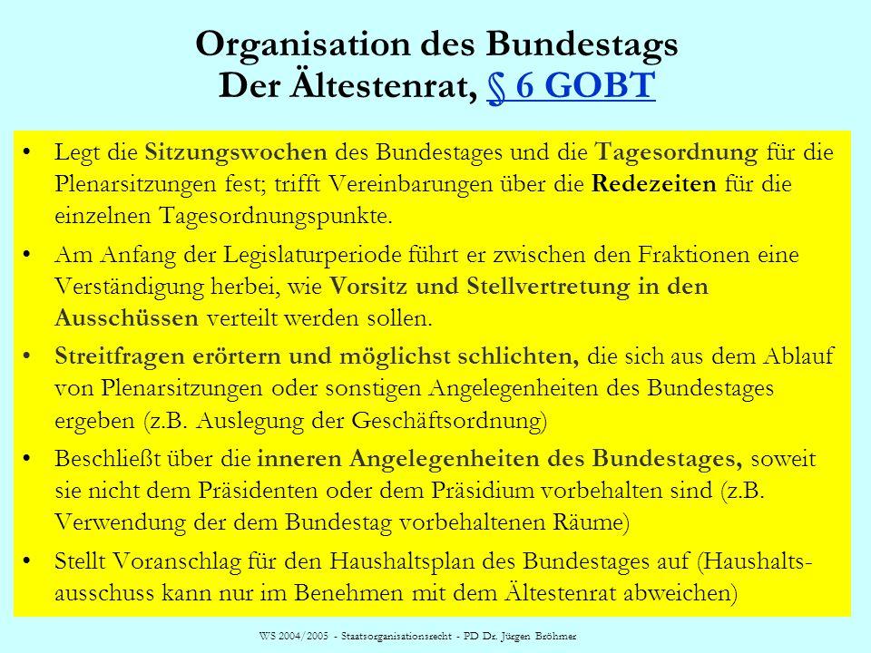 Organisation des Bundestags Der Ältestenrat, § 6 GOBT