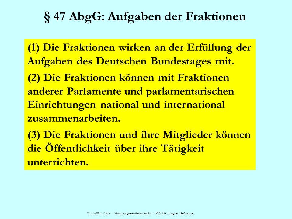 § 47 AbgG: Aufgaben der Fraktionen