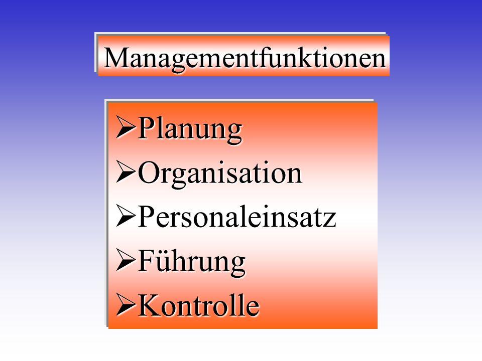 Planung Organisation Personaleinsatz Führung Kontrolle