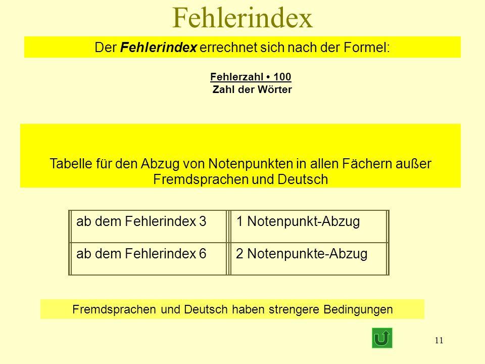 Fehlerindex Der Fehlerindex errechnet sich nach der Formel: