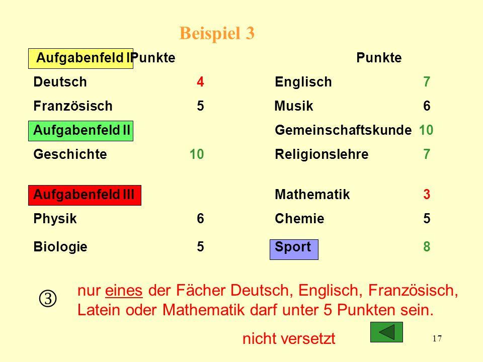 Beispiel 3 Aufgabenfeld I Punkte Punkte. Deutsch 4 Englisch 7.