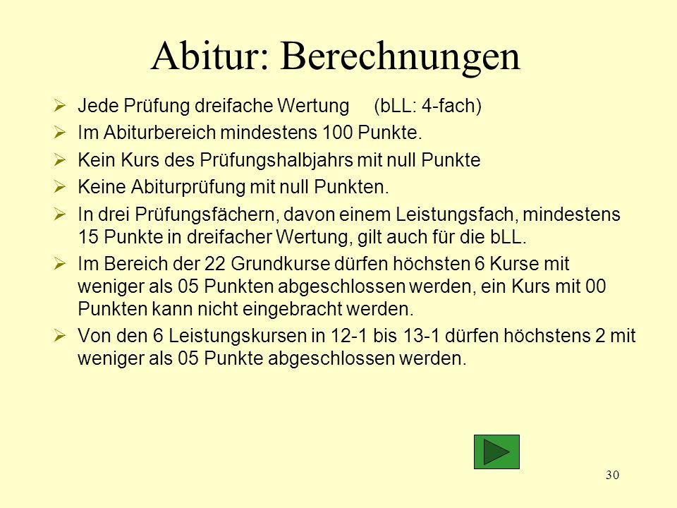 Abitur: Berechnungen Jede Prüfung dreifache Wertung (bLL: 4-fach)