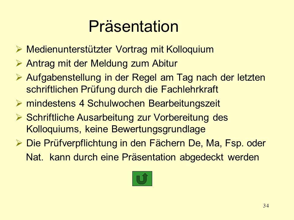 Präsentation Medienunterstützter Vortrag mit Kolloquium