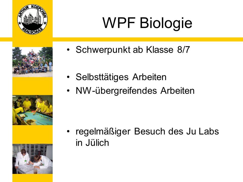 WPF Biologie Schwerpunkt ab Klasse 8/7 Selbsttätiges Arbeiten