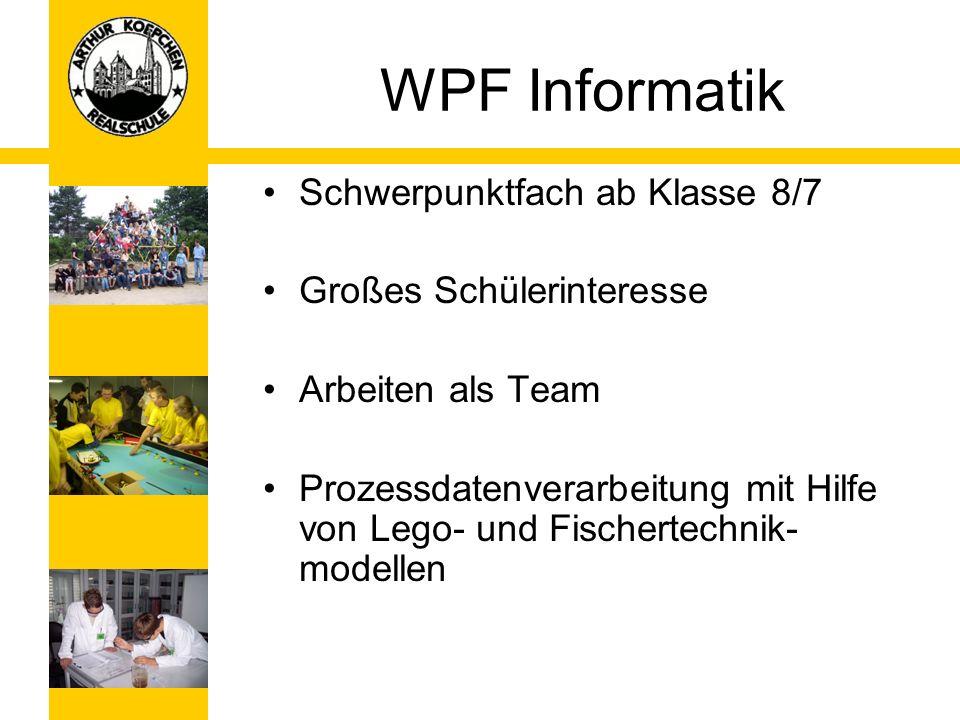 WPF Informatik Schwerpunktfach ab Klasse 8/7 Großes Schülerinteresse