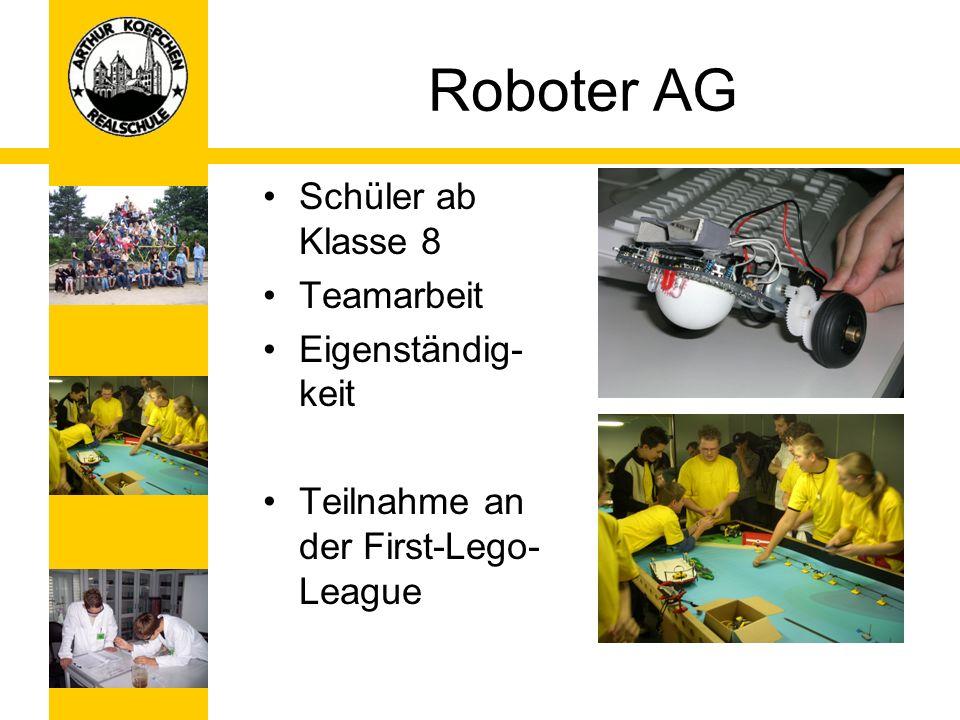 Roboter AG Schüler ab Klasse 8 Teamarbeit Eigenständig-keit