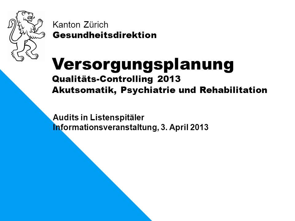 Versorgungsplanung Qualitäts-Controlling 2013