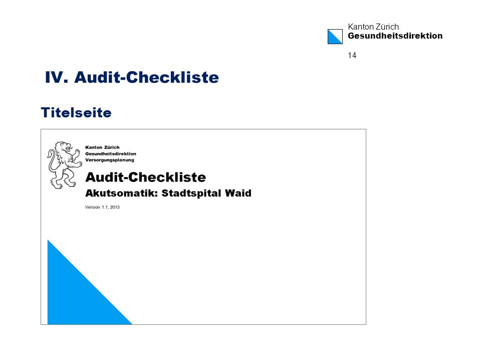 IV. Audit-Checkliste Titelseite
