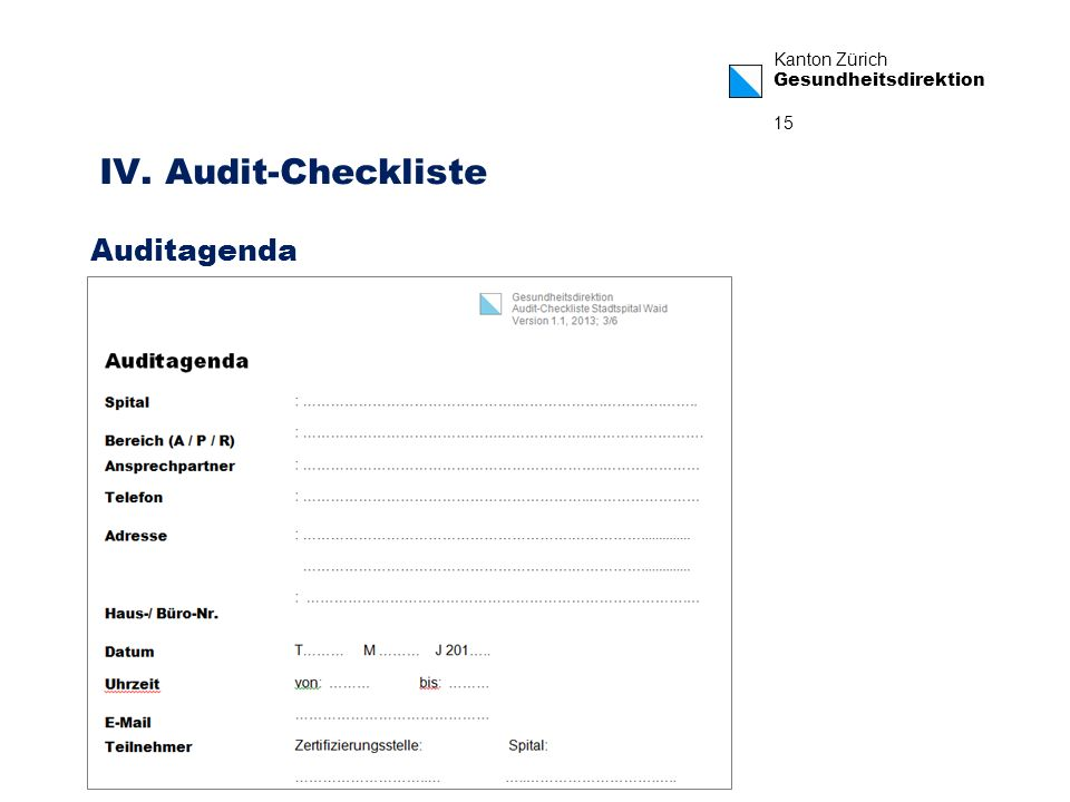 IV. Audit-Checkliste Auditagenda