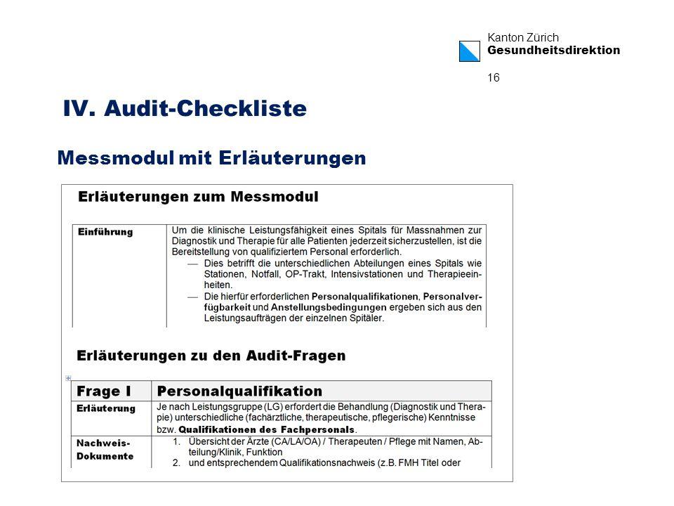 IV. Audit-Checkliste Messmodul mit Erläuterungen