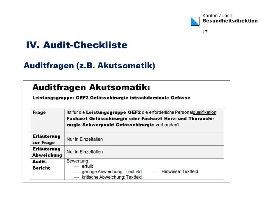 IV. Audit-Checkliste Auditfragen (z.B. Akutsomatik)