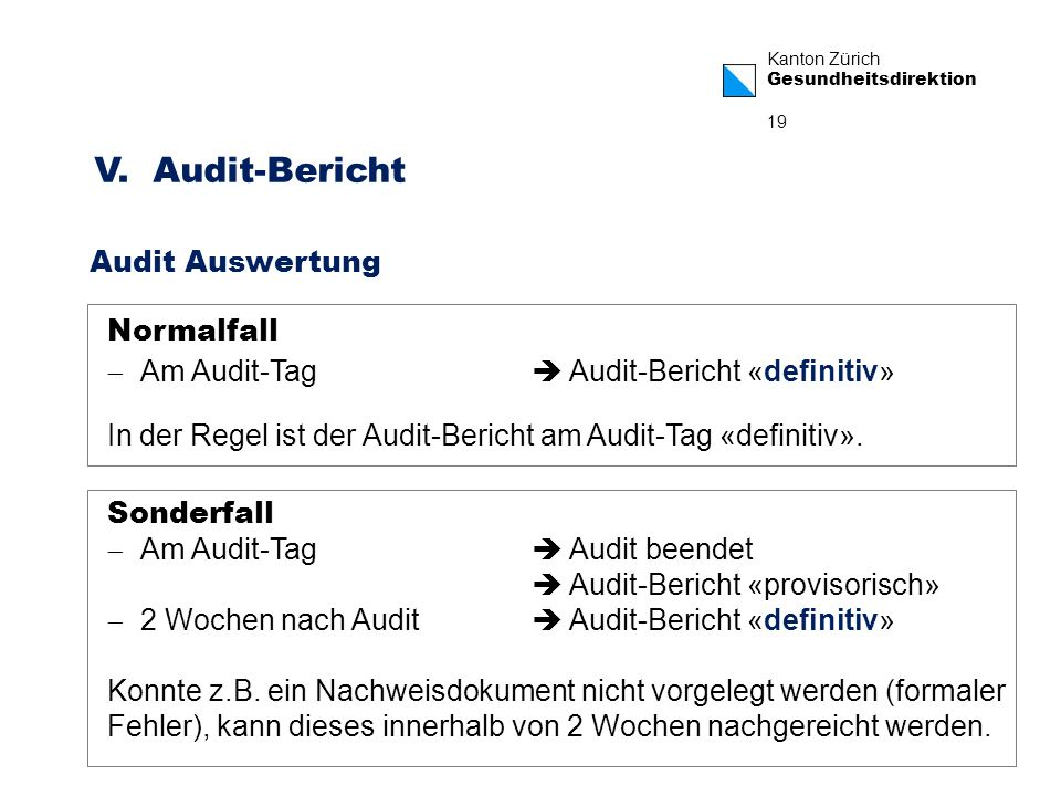 V. Audit-Bericht Audit Auswertung Normalfall