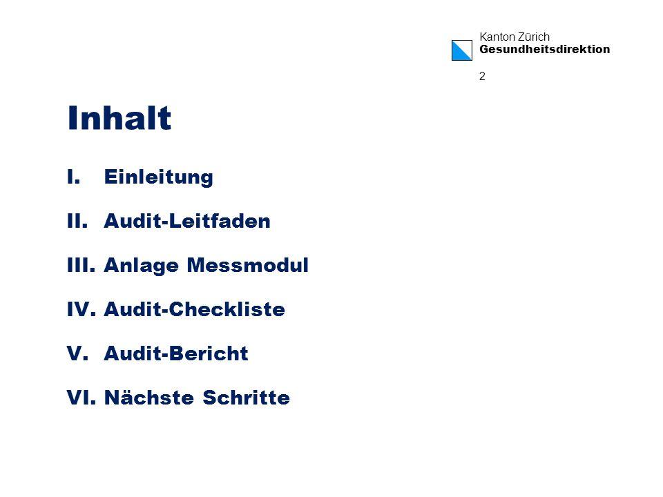 Inhalt Einleitung Audit-Leitfaden Anlage Messmodul Audit-Checkliste