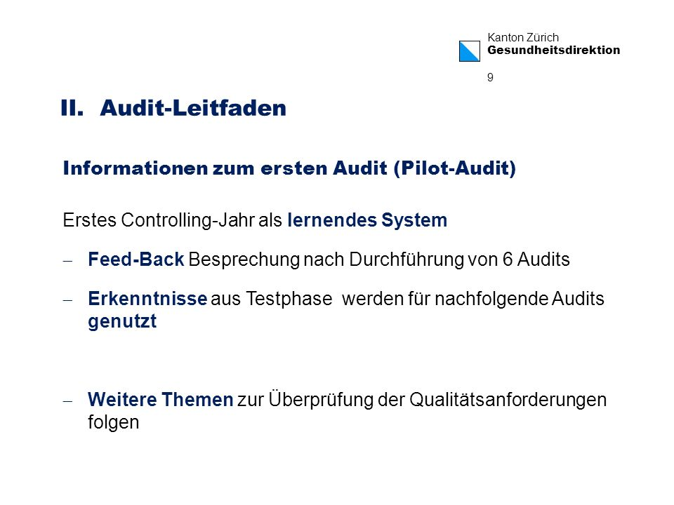 II. Audit-Leitfaden Informationen zum ersten Audit (Pilot-Audit)