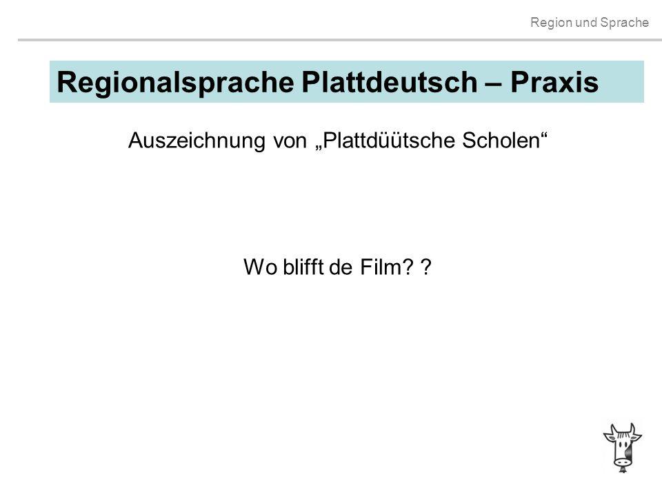 """Auszeichnung von """"Plattdüütsche Scholen Wo blifft de Film"""