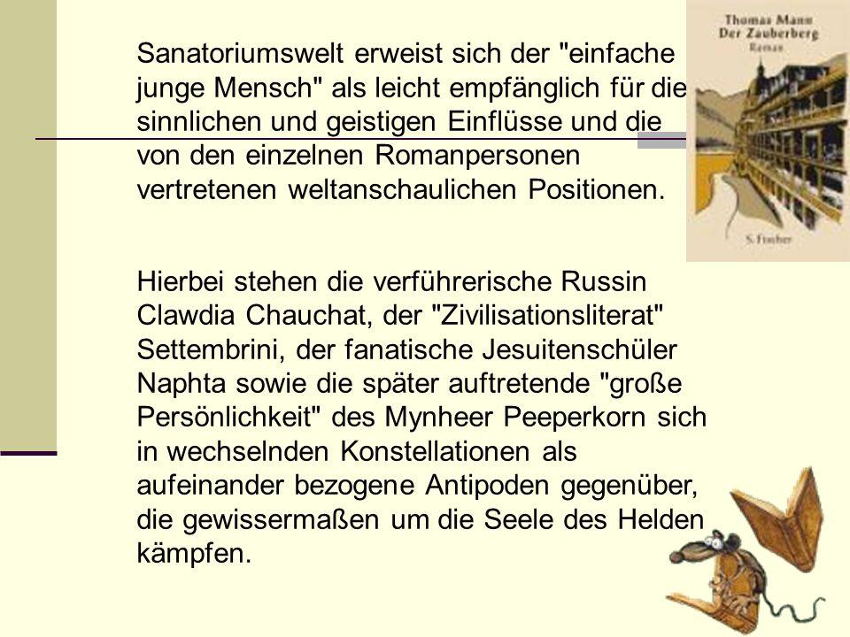Sanatoriumswelt erweist sich der einfache junge Mensch als leicht empfänglich für die sinnlichen und geistigen Einflüsse und die von den einzelnen Romanpersonen vertretenen weltanschaulichen Positionen.