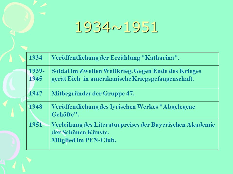 1934~1951 1934 Veröffentlichung der Erzählung Katharina . 1939- 1945