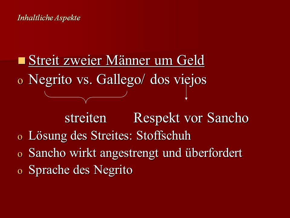 Streit zweier Männer um Geld Negrito vs. Gallego/ dos viejos