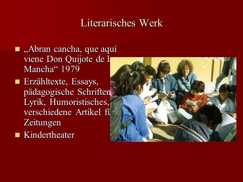 """Literarisches Werk """"Abran cancha, que aquí viene Don Quijote de la Mancha 1979."""
