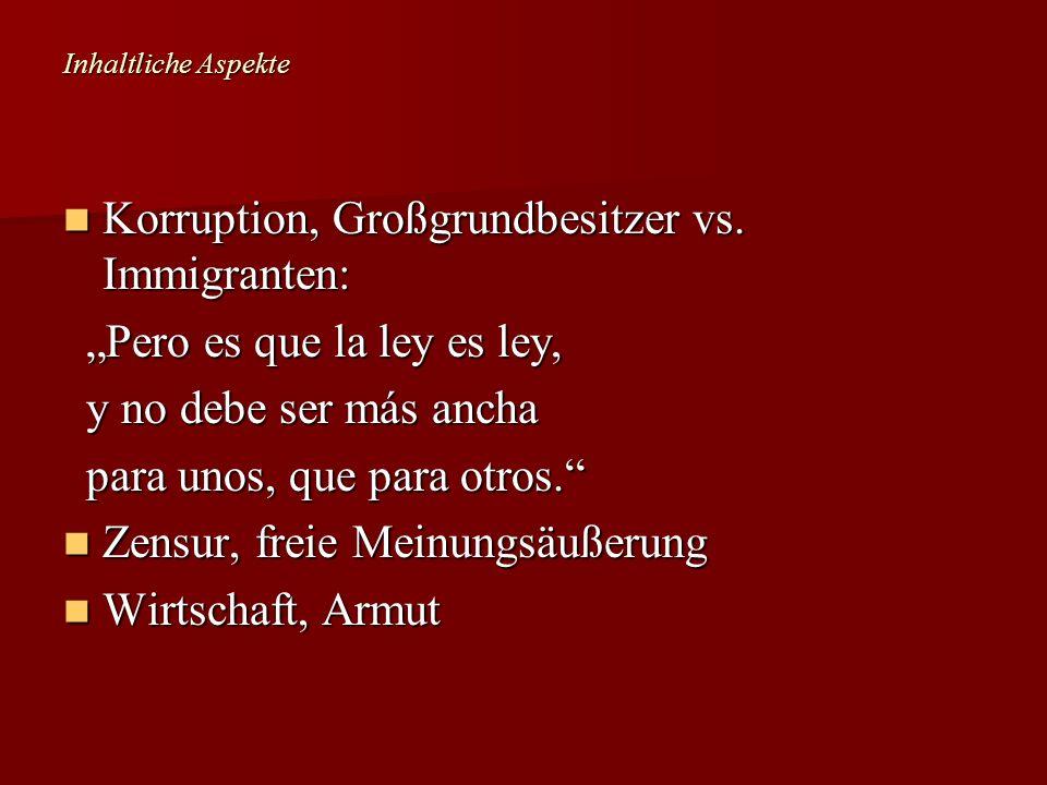 Korruption, Großgrundbesitzer vs. Immigranten: