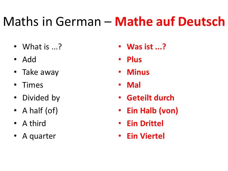 Maths in German – Mathe auf Deutsch