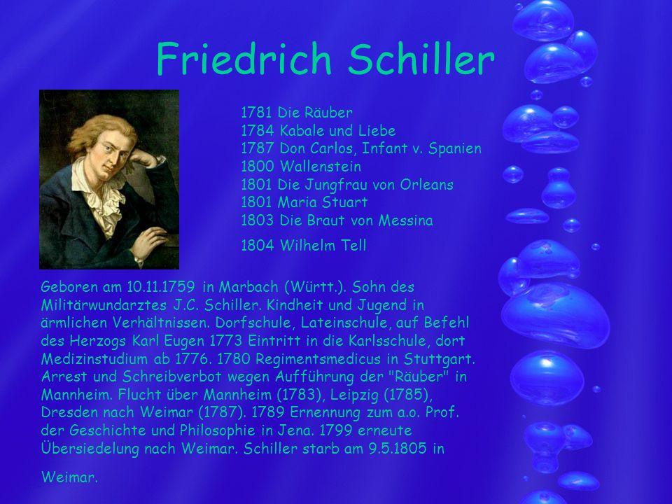 Friedrich Schiller 1781 Die Räuber 1784 Kabale und Liebe